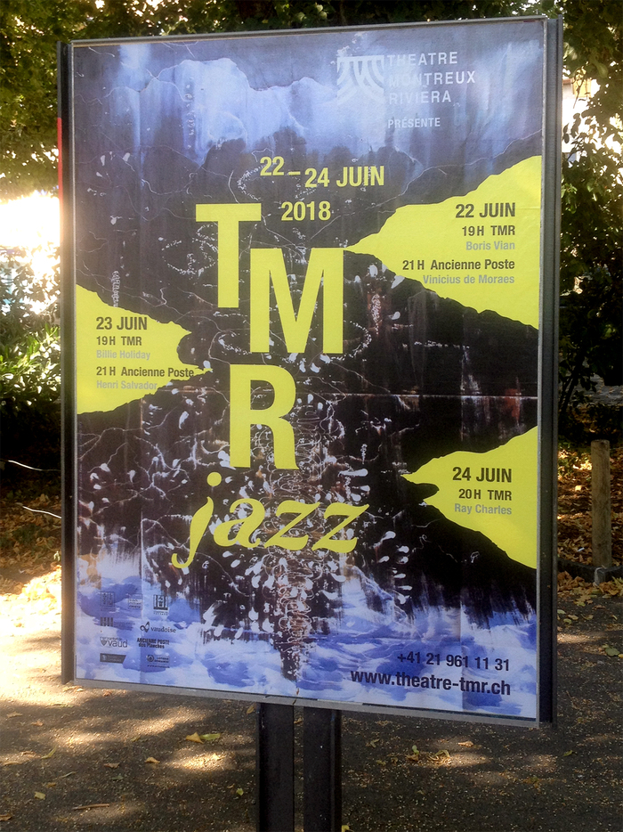 """Poster spotted in the streets of Vevey – """"jazz"""" is in Faune Display Bold Italic."""