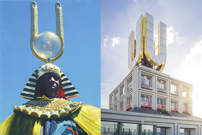 Left: Sun Ra, Film still from John Coney's Space Is the Place (1974) (photo © 1974 Jim Newman). Right: Golden U atop the main venue of Afro-Tech exhibition and festival – Dortmunder U (photo Roland Baege)