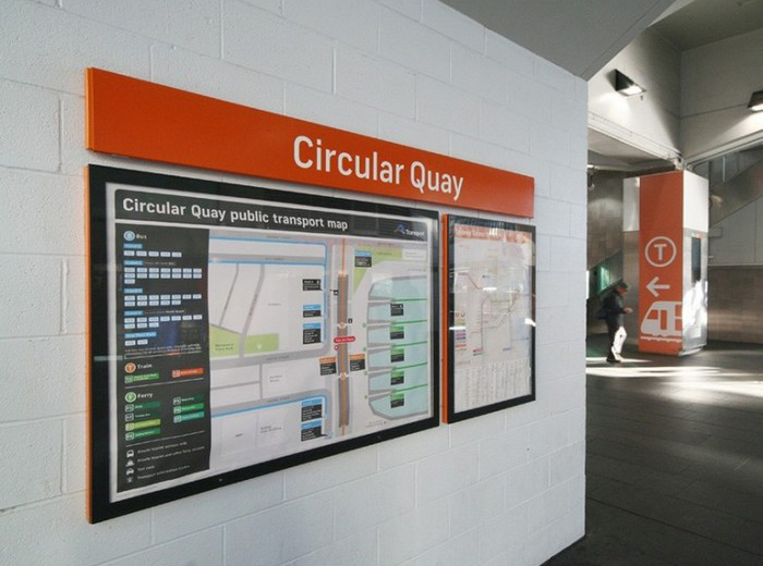 Public transport map at Circular Quay station.