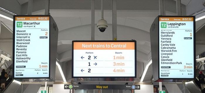 Digital screens at Circular Quay station.