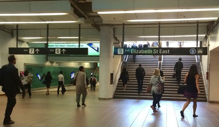 Exit signage for Martin station.