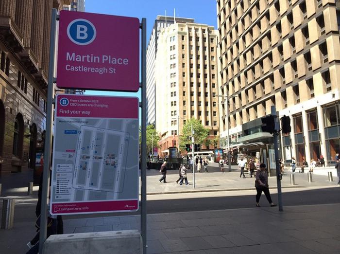 Temporary signage Pink Hub sign at Martin Place