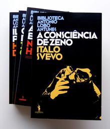 Biblioteca António Lobo Antunes logo and book covers