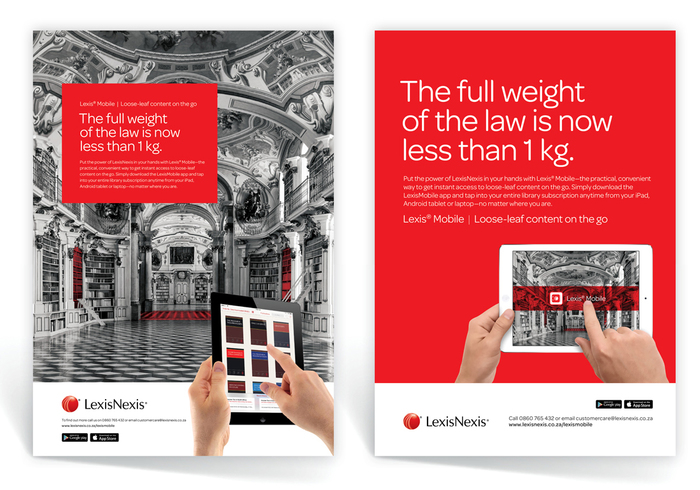 Series of print ads for Lexis Mobile, LexisNexis South Africa.