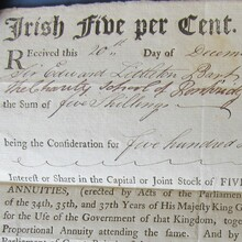 """Irish Five per Cent. Annuities"" receipt (1804)"