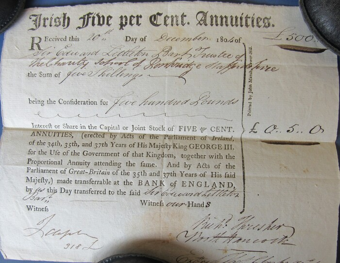 """Irish Five per Cent. Annuities"" receipt (1804) 1"