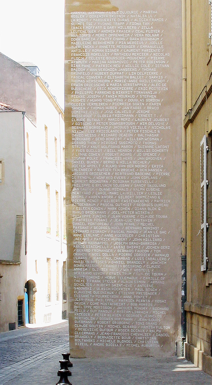 Permanent intervention at the piegon tower with the listing of all artist names of purchased works. The inscriptions are applied with lime paint and will disappear over time.