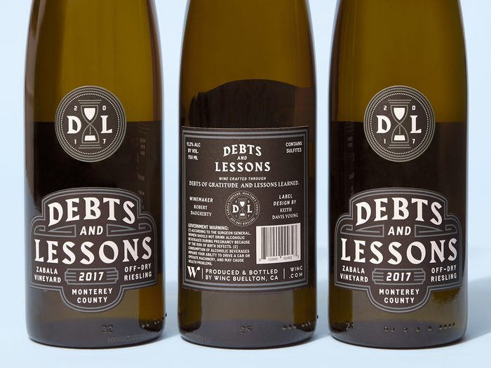 Debts and Lessons wine label 2