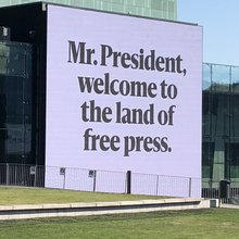 """The Land of Free Press"" – Trump-Putin meeting campaign by <cite>Helsingin Sanomat</cite>"