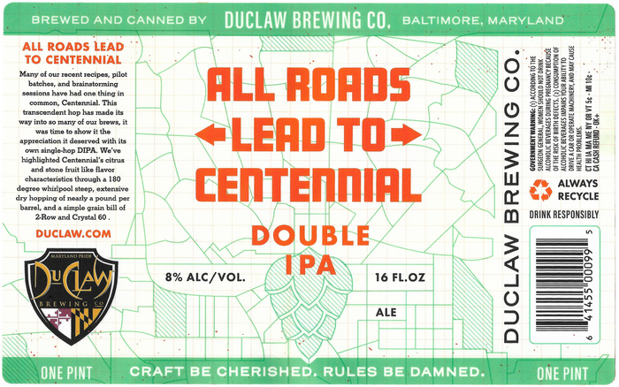 """All Roads Lead To Centennial"", DuClaw Brewing Co. 1"