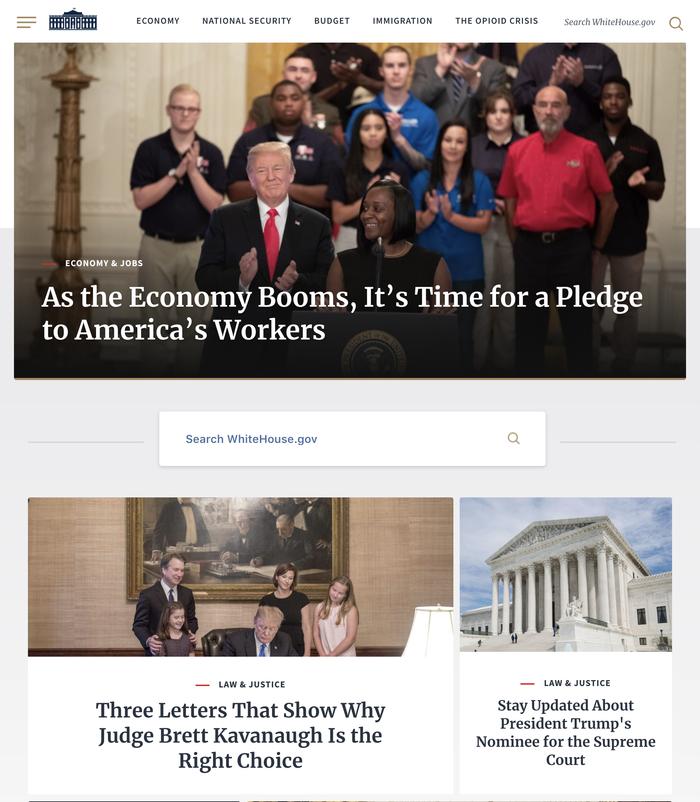 WhiteHouse.gov website (2018) 1
