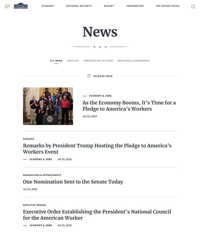 WhiteHouse.gov website (2018) 4