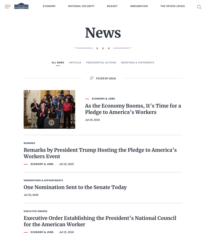 WhiteHouse.gov website (2018) 4