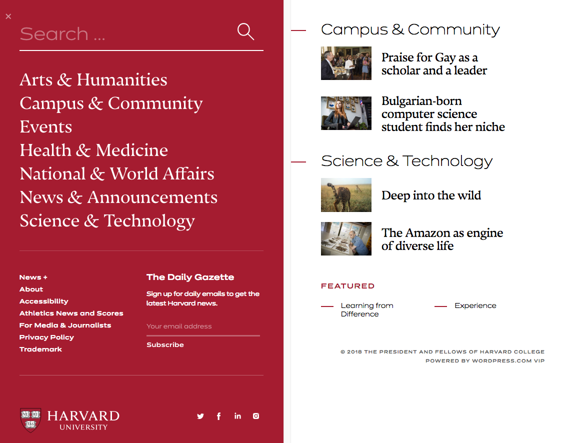 The Harvard Gazette - Fonts In Use