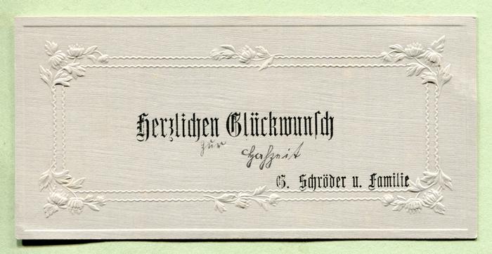 """""""Herzlichen Glückwunsch zur Hochzeit"""" from G. Schröder and family."""