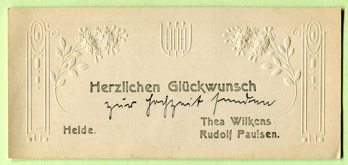 Greeting card with finely embossed branches and ornaments, sent by Thea Wilkens and Rudolf Paulsen from Heide, Schleswig-Holstein.