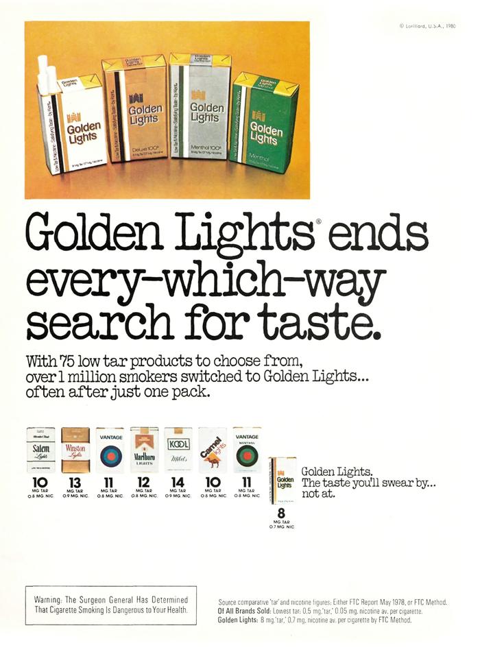 Kent Golden Lights Cigarette ad (1980)