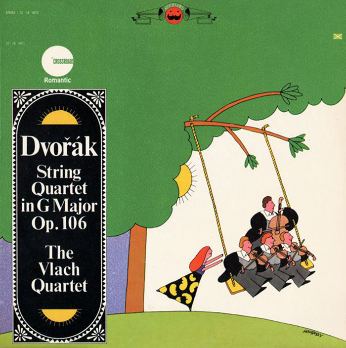 String Quintet in G Major played by The Dvořák String Quartet feat. František Pošta, Double Bass. Cover by Josef Kalousek, with art by Sandy Hoffman, 1967. The sprawling swash letters in the treetop are from Dave West's Behemoth Italic.