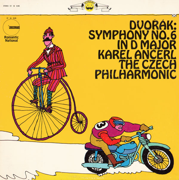 "Symphony No. 6 In D Major, by The Czech Philharmonic Orchestra, conducted by Karel Ančerl. Six lines of Hobo caps with tiny diacritical marks — note the háček neatly tucked between the legs of A. Hobo is also used for the ""Romantic National"" logo on the left."