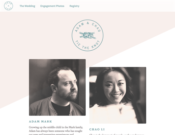 Adam & Chao's wedding website 1