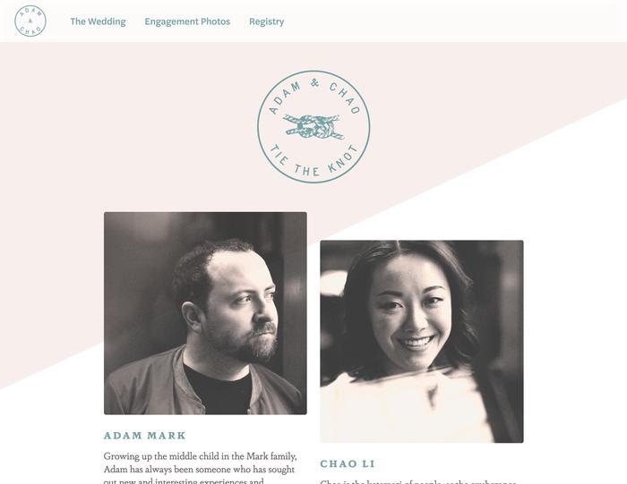 Adam & Chao's wedding website 1