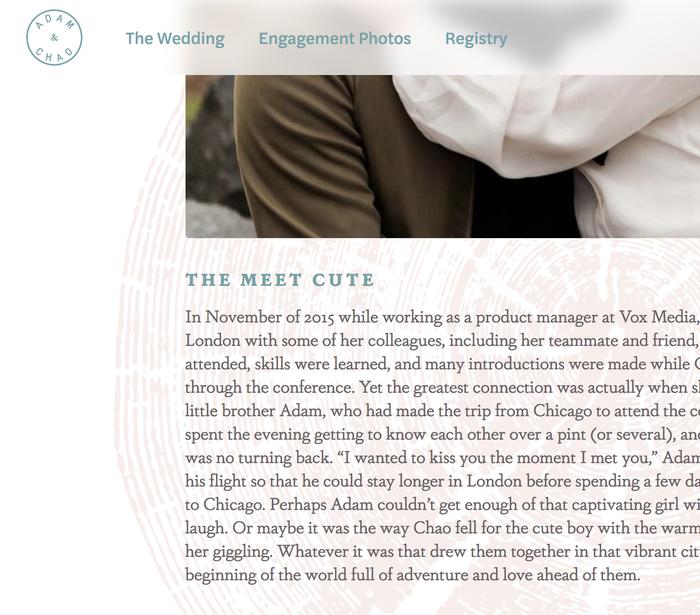 Adam & Chao's wedding website 2