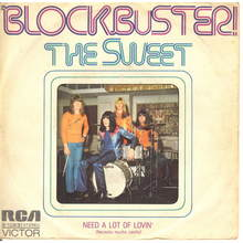 "The Sweet – ""Blockbuster!"" / ""Need A Lot of Lovin'"" Spanish single cover"
