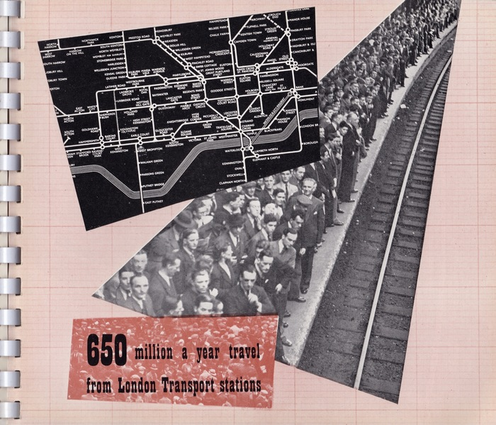 "Page 12 – ""650 million a year travel from London Transport stations."" This page is formed from a photomontage with an extract from the diagram, a photo and text box. The platform is very crowded and very male orientated! A sporting event I think."