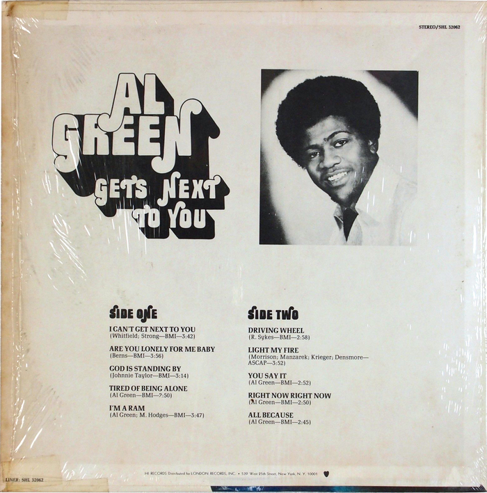 Al Green – Al Green Gets Next to You album art 2