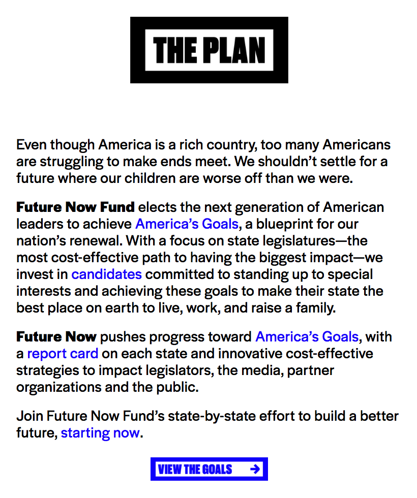 Future Now / America's Goals - Fonts In Use