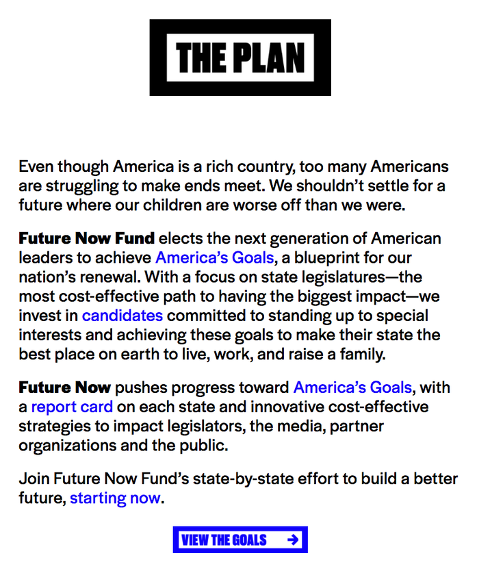 The text on futurenowusa.org is rendered in Halyard Display in regular and bold.