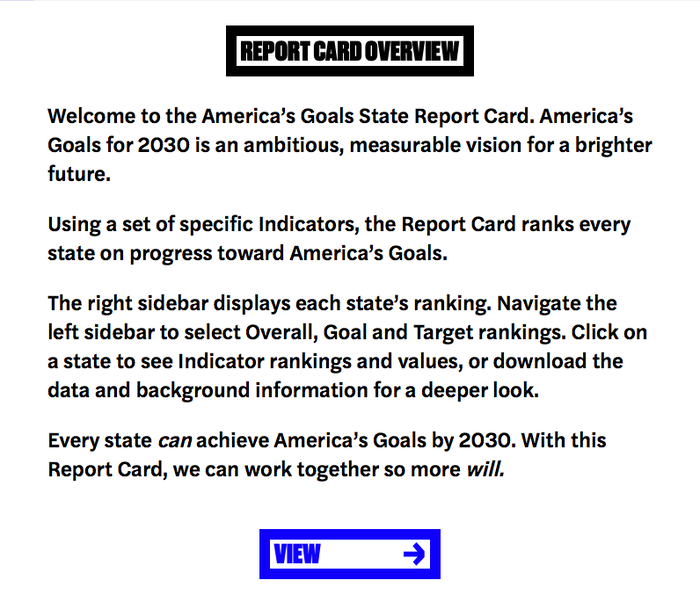 The project site americasgoals.org uses Halyard Text, a variant that is optimized for text sizes.