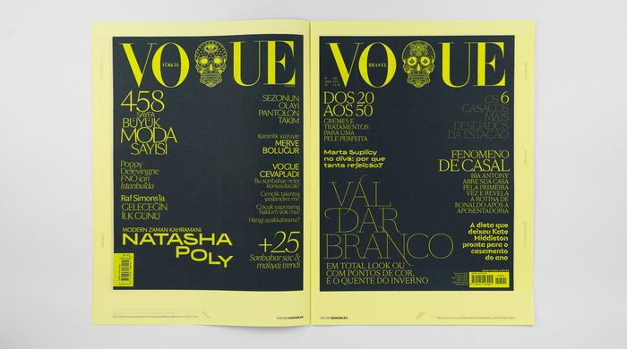 Left: Vogue Türkiye cover using SB Vogue Turkey (custom typeface) and BRRR, September 2012 (SWTY remix). Right: Vogue Brazil cover using SB Vogue Brazil (custom typeface), June 2011 (SWTY remix).