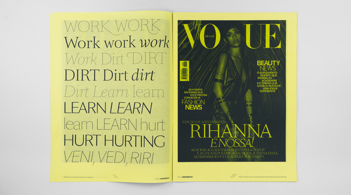 Left: Sang Bleu magazine issues Zero (2007), III/IV (2009), 5 (2010), 6 (2012). Sang Bleu Uniqueness, limited edition project for My Design District (2008). Right: SangBleu Sex (private) and an early version of SangBleu Kingdom typefaces. Spreads of Sang Bleu magazine issues 5, III/IV and 6.