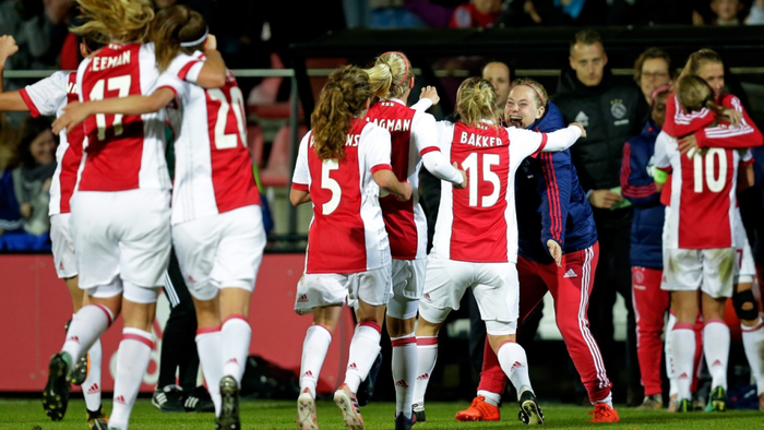 The Ajax women's squad celebrate a goal against Brescia in the Champion's League, Oct. 2017