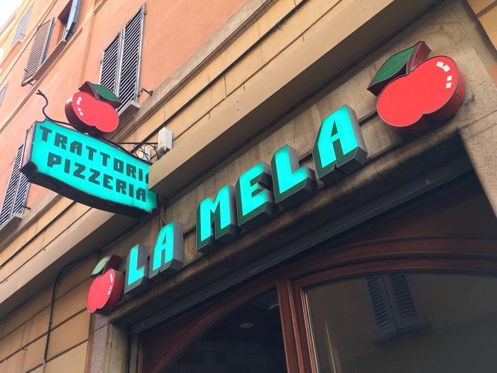 La Mela trattoria pizzeria signage 2