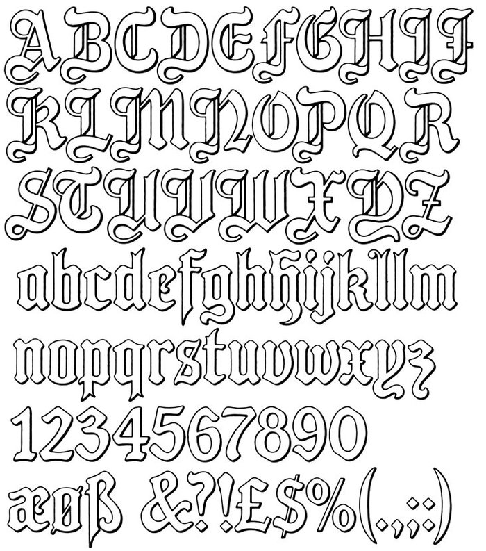 Glyph set of English Tudor, scanned from a Letraset catalog by Donald H. Tucker.