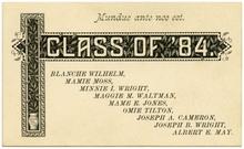 """Mundus ante nos est."" Class of '84 graduation card"
