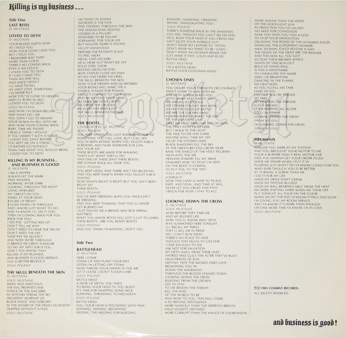 Back cover of a vinyl reissue by Music For Nations