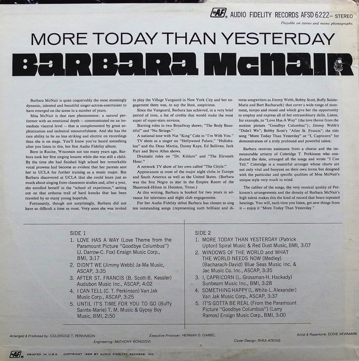Barbara McNair – More Today Than Yesterday album art 2