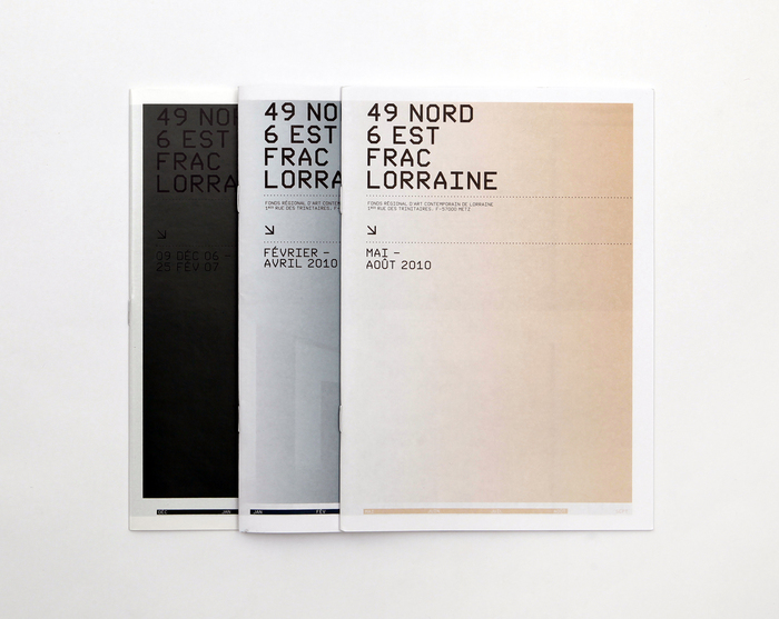 Exhibition catalogs for FRAC Lorraine in Metz, France. Nik Thoenen, 2006–2010.