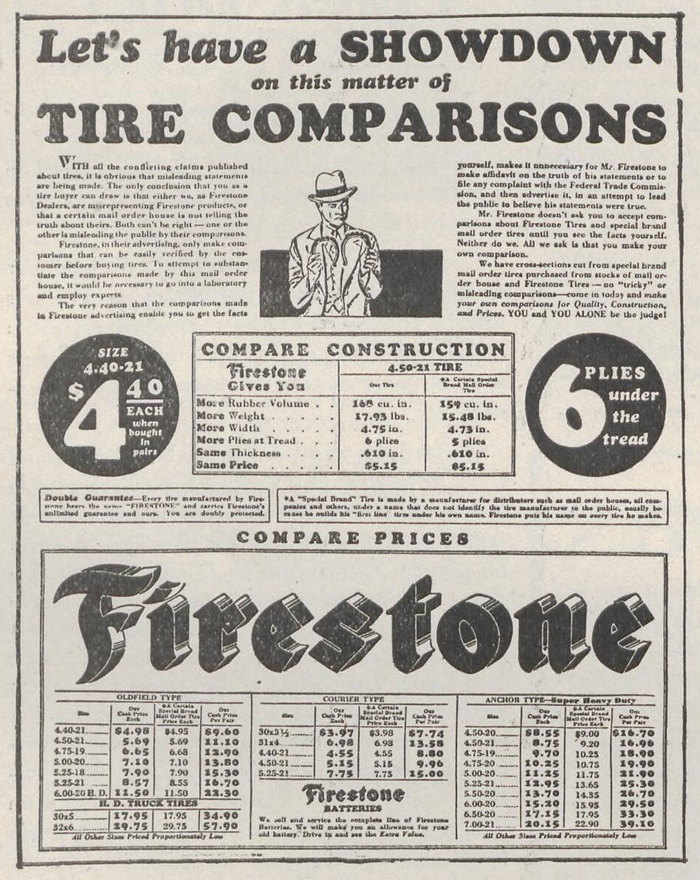 Compilation of Firestone ads from the company's first few decades. The logo at this early stage very closely matches Bradley Extended.