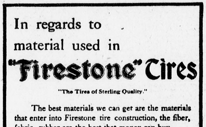 "An ad in a 1908 edition of New York's The Sun newspaper shows the Firestone logo with ""Tires"" in Bradley."