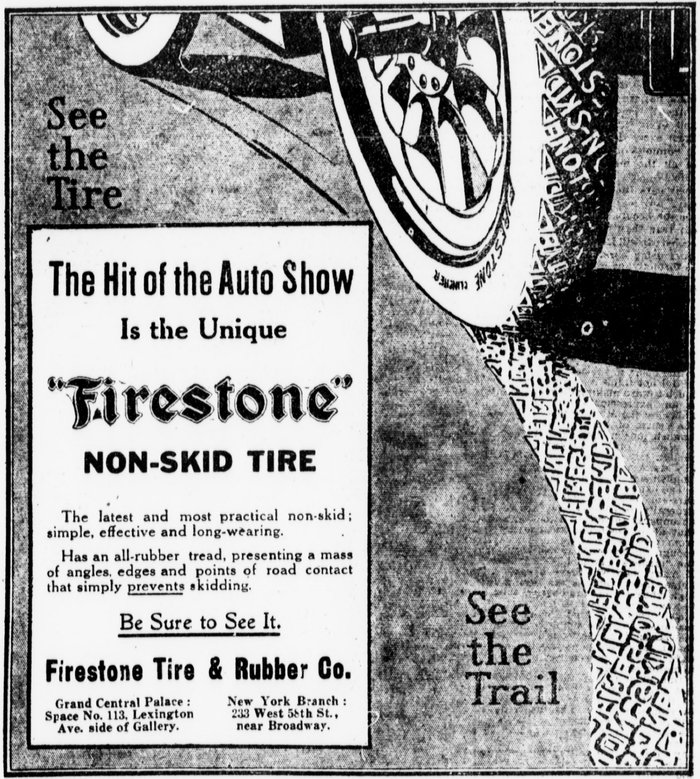 Non-Skid Tire ad, The Sun, 1909.