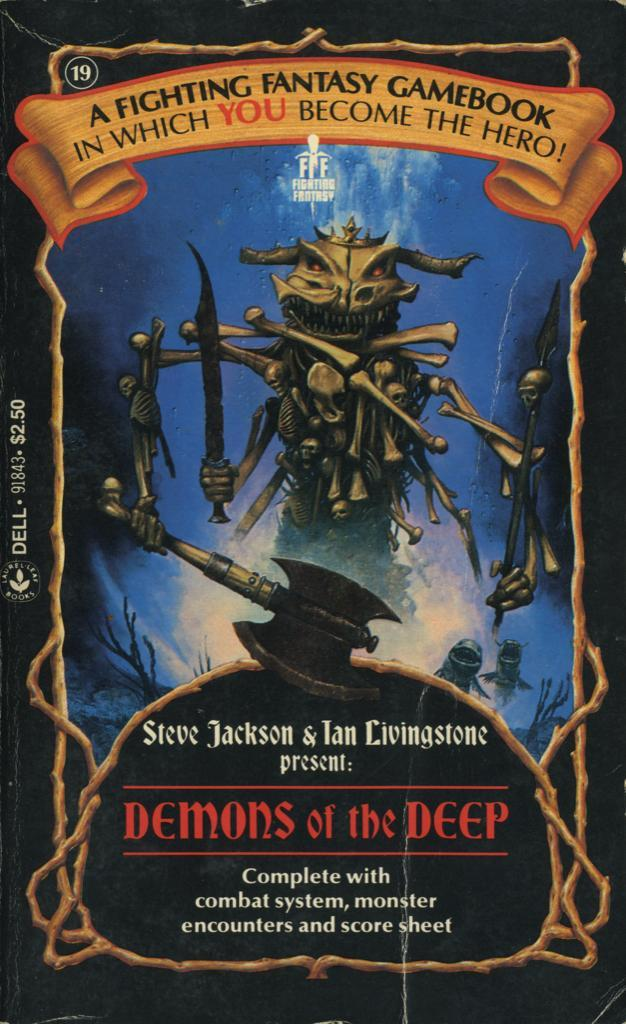 19: Demons Of The Deep by Steve Jackson and Ian Livingstone, 1987. Cover art by Les Edwards.