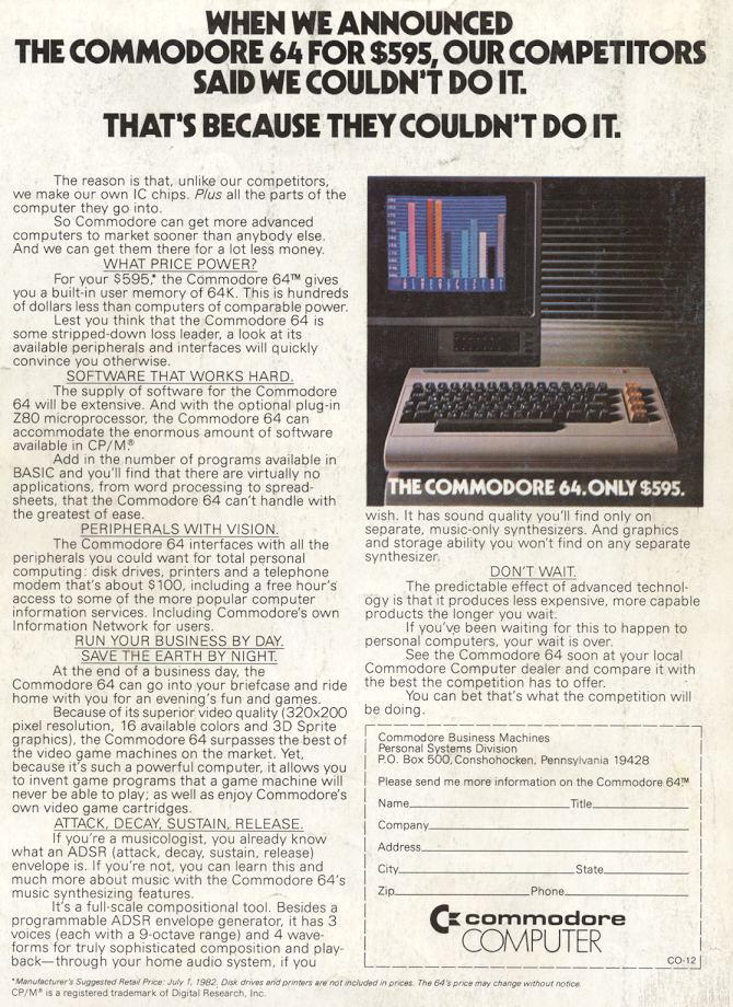 C64 for $595 / Compute!, Dec. 1982