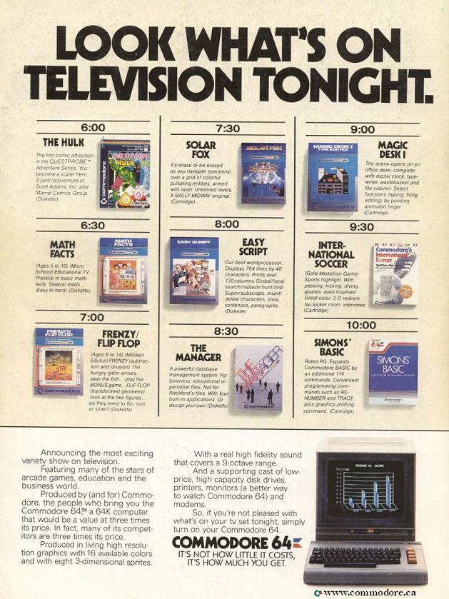 C64 Look What's on Television Tonight / Run, March 1985