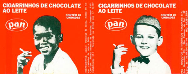 Vintage Cigarrinho de chocolate packaging from 1959, featuring a picture of Paulinho Pompéia (left) and caps from Franklin Gothic.