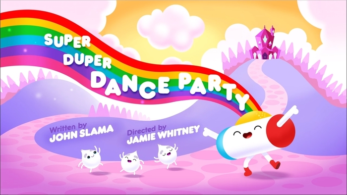 """Title card for """"Super Duper Dance Party"""", the first episode in Season 1."""
