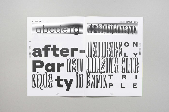 Type that looks like it cannot be moved, and type that looks like it couldn't sit still for a second: Berton Hasebe's Styrene (Commercial Type) and Jérémy Landes' Digestive (Triple Studio).
